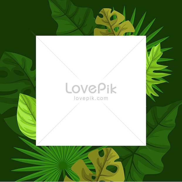 stylish green tropical plant leaf border frame background
