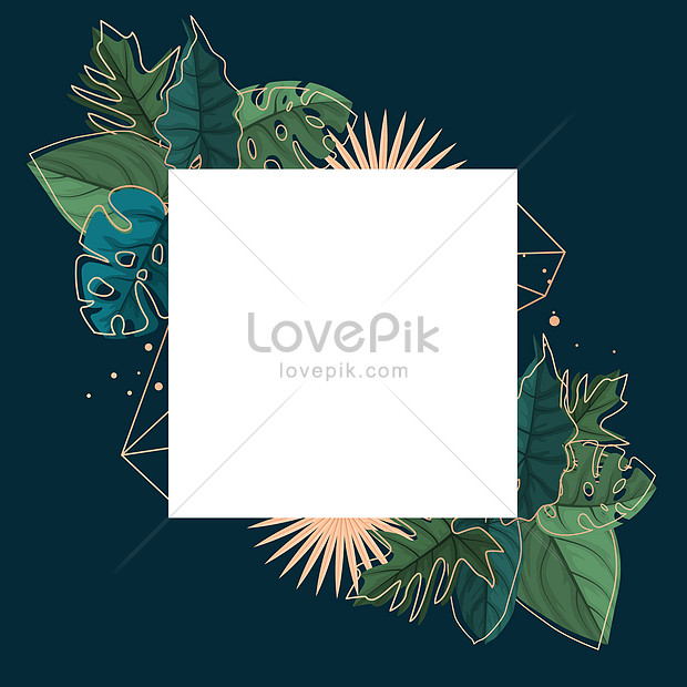 exquisite green tropical plant leaf border frame background