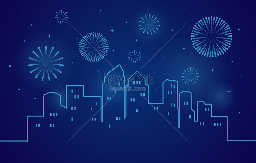blue happy new year with fireworks in city background