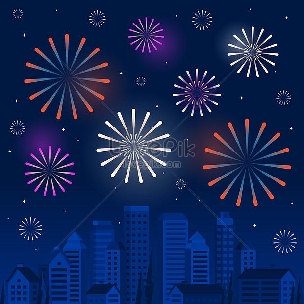happy new year with colorful fireworks in city background