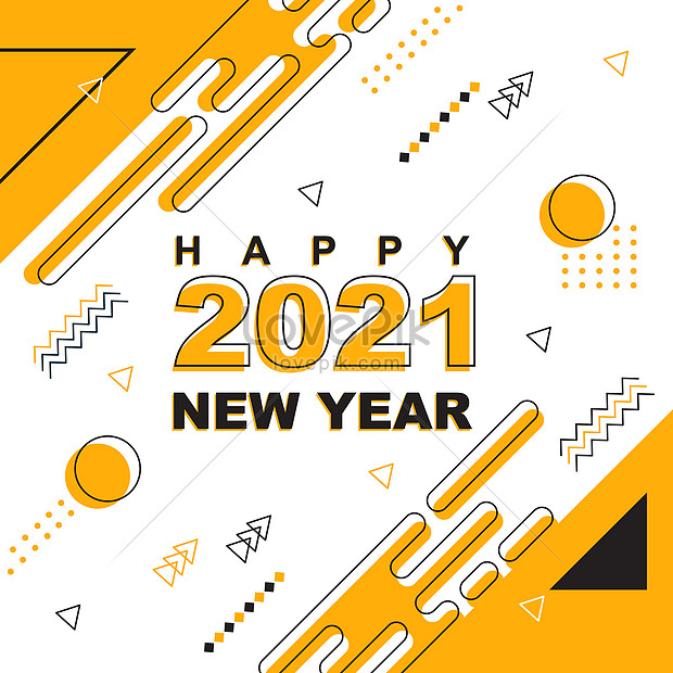 yellow happy new year holiday greeting card background