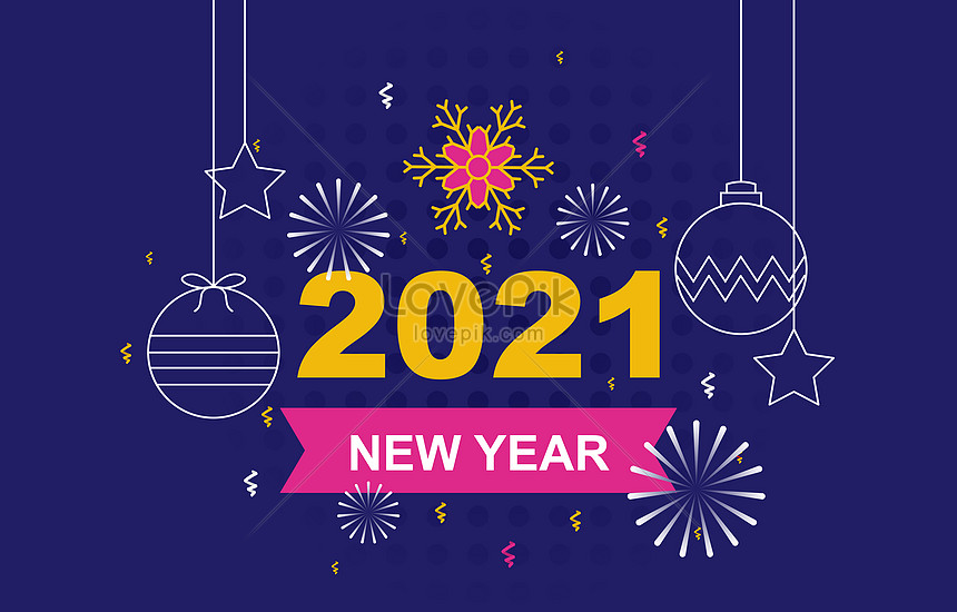 blue 2021 happy new year with fireworks and snowflake background