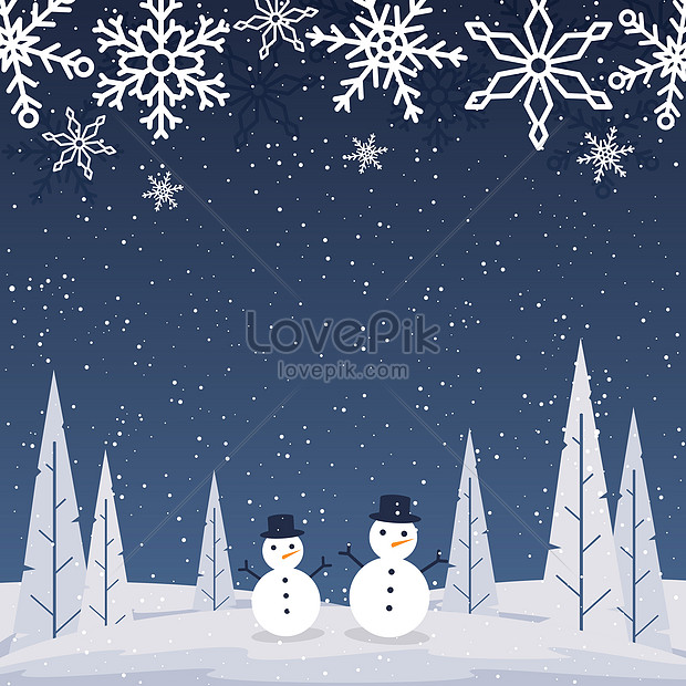 snow landscape with snowman and snowflake background