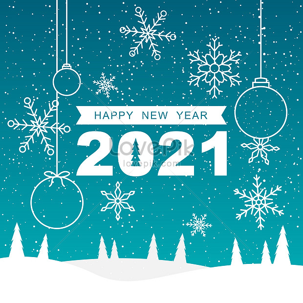 2021 new year snow landscape with snowflake background