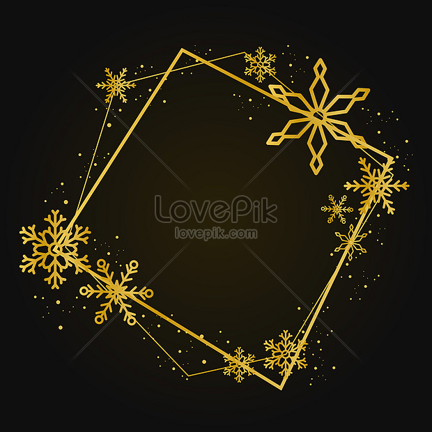 holiday greeting card with gold snowflakes background