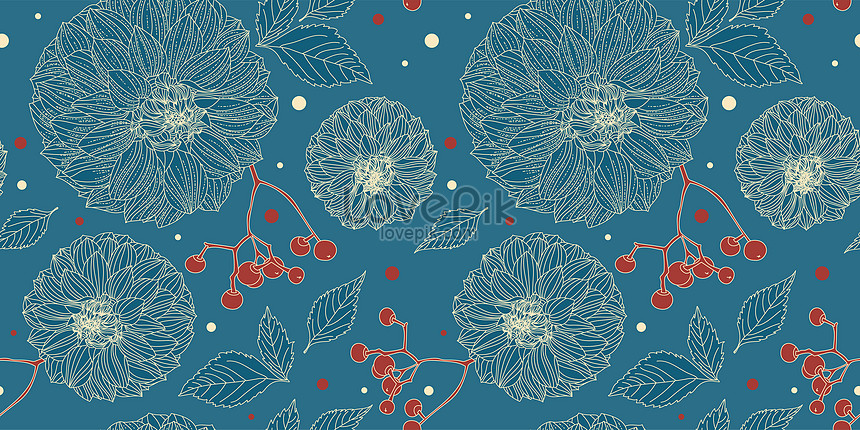 turquoise floral seamless pattern of dahlia flowers