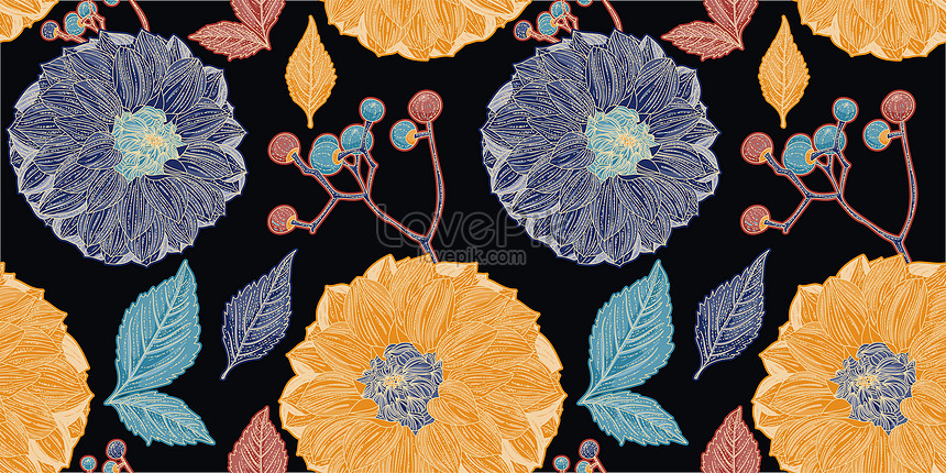 black seamless pattern of colorful dahlia