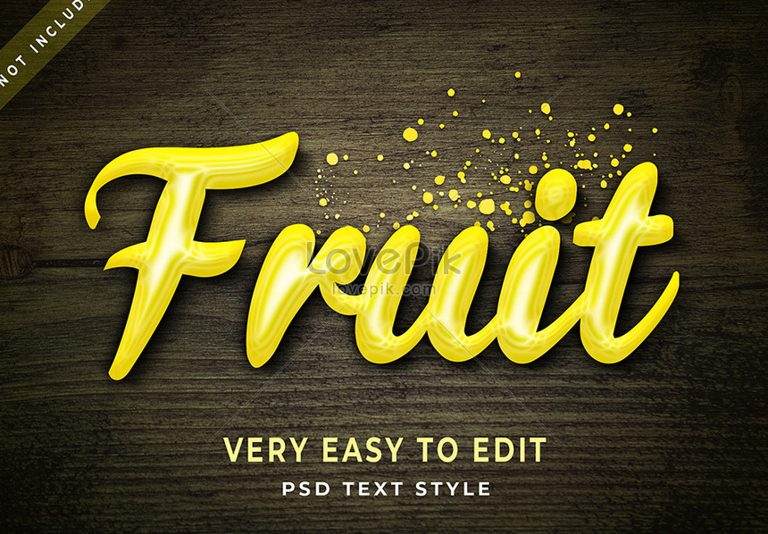 yellow fruit 3d text style effect