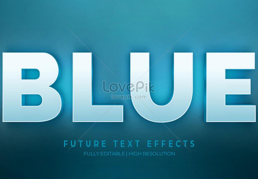 blue 3d text style effect
