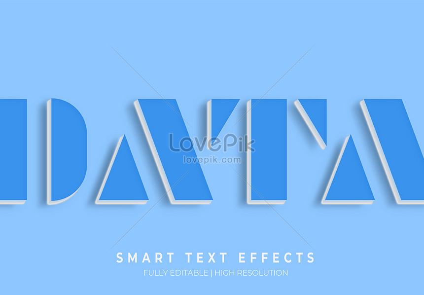 blue data 3d 3d text style effect