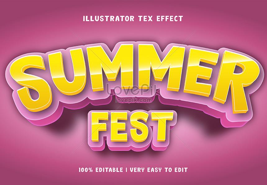 yellow summer fest 3d text style effect
