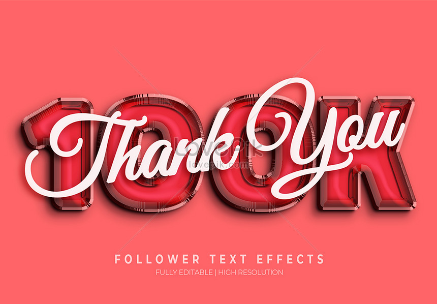 red thank you 3d text style effect