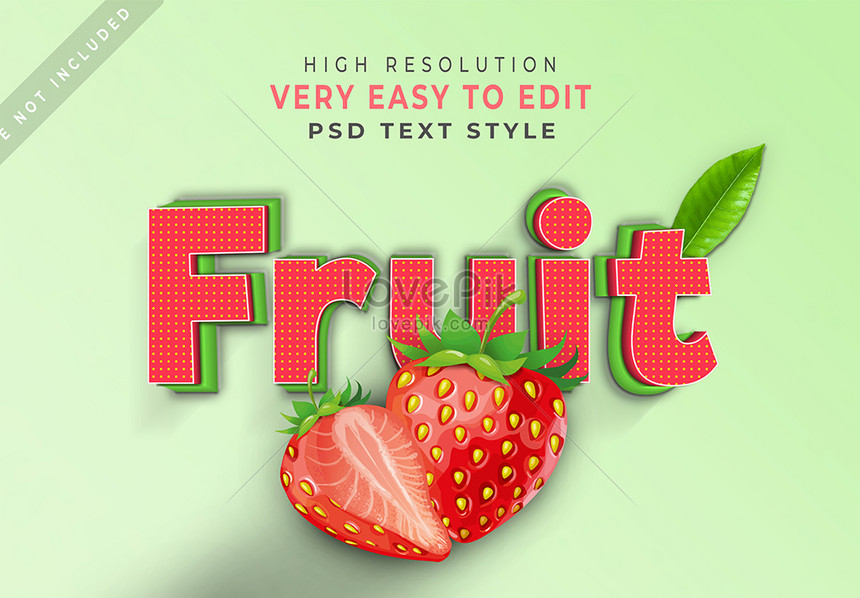 green fruit 3d text style effect