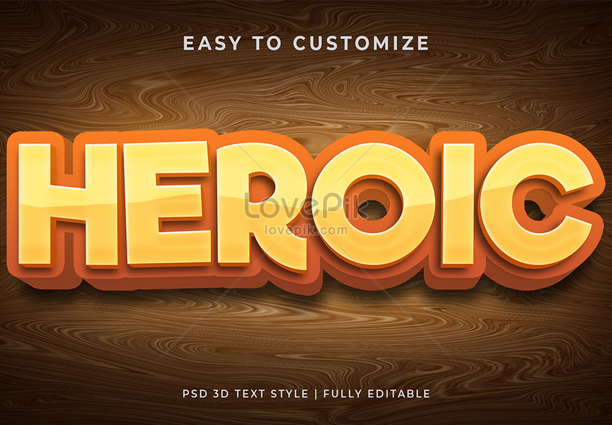 brown heroic 3d text style effect