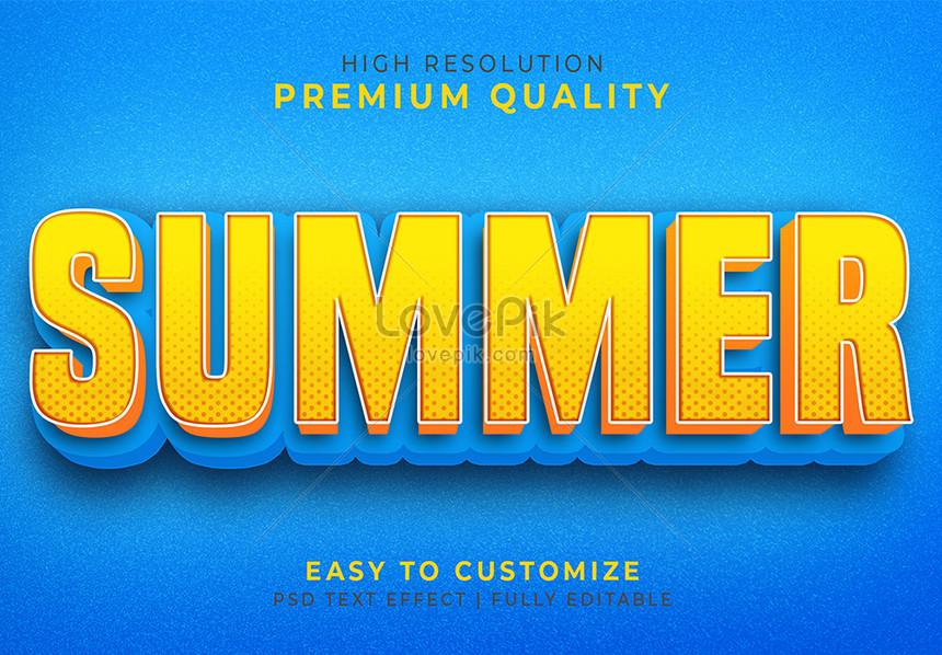 blue summer 3d text style effect