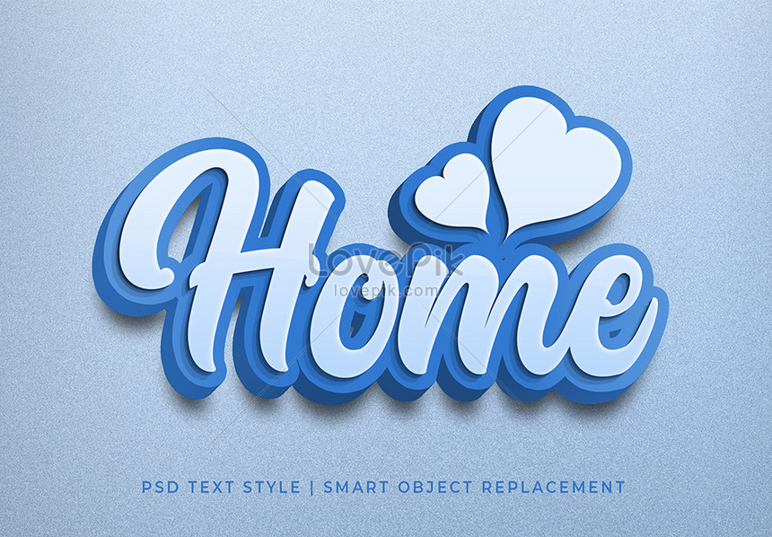 blue home 3d text style effect