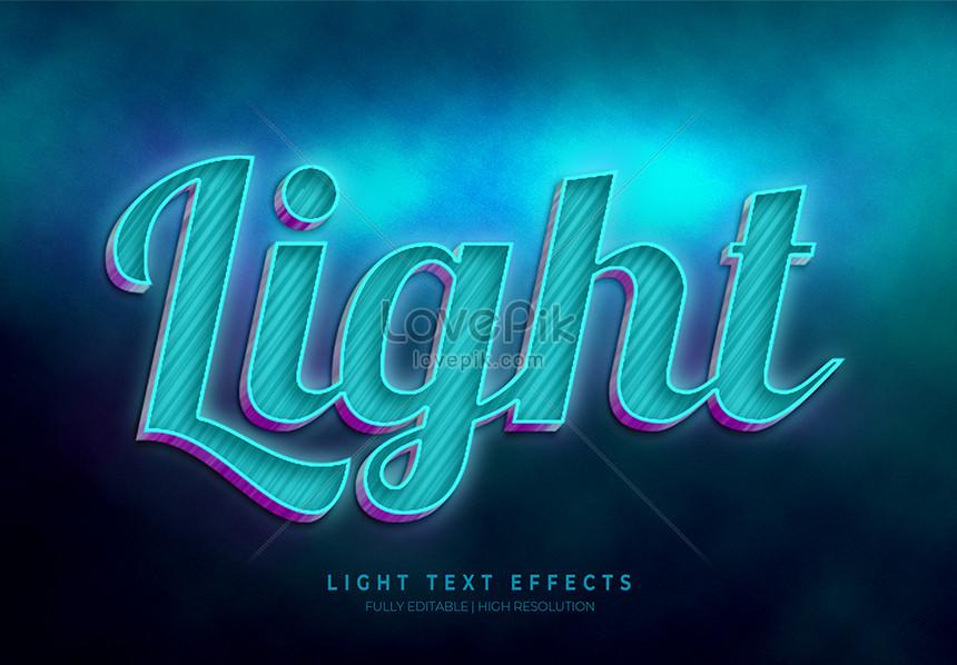 blue light 3d text style effect