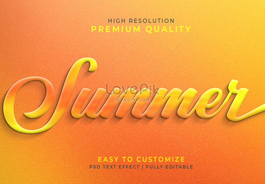 yellow summer 3d text style effect