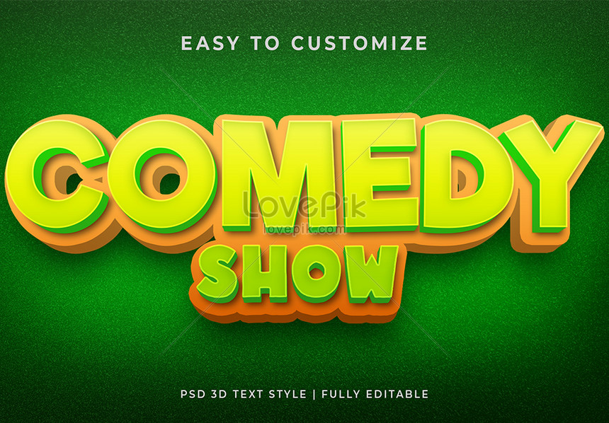green comedy show 3d text style effect