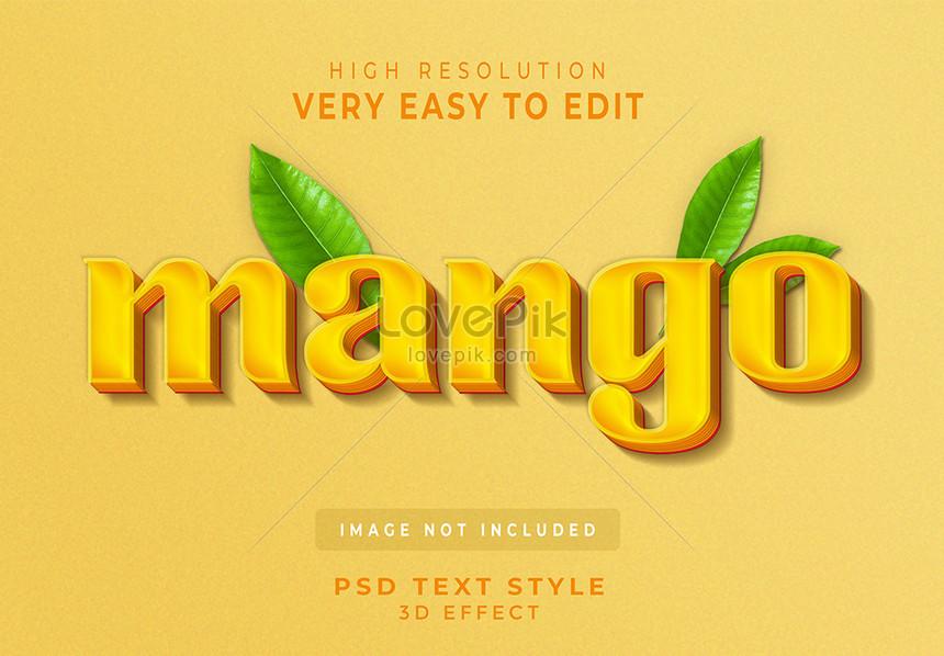 yellow mango fruit 3d text style effect