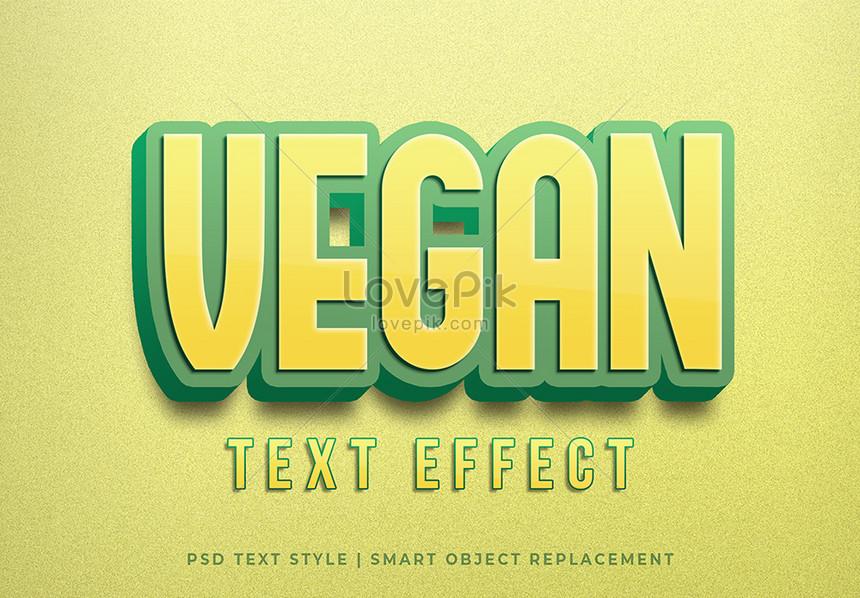 yellow vegan 3d text style effect