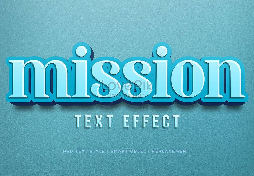 blue mission 3d text style effect