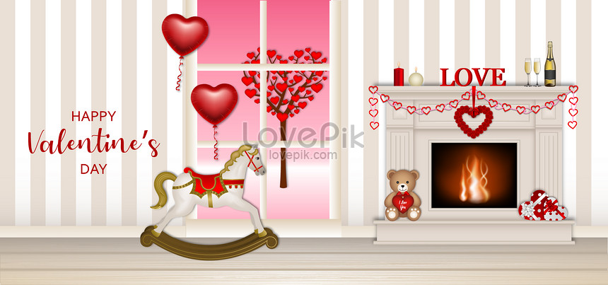 valentines day with fireplace and rocking horse background