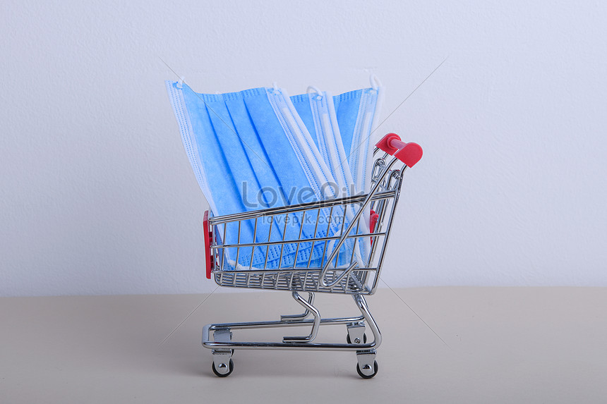 protective medicine masks in shopping cart