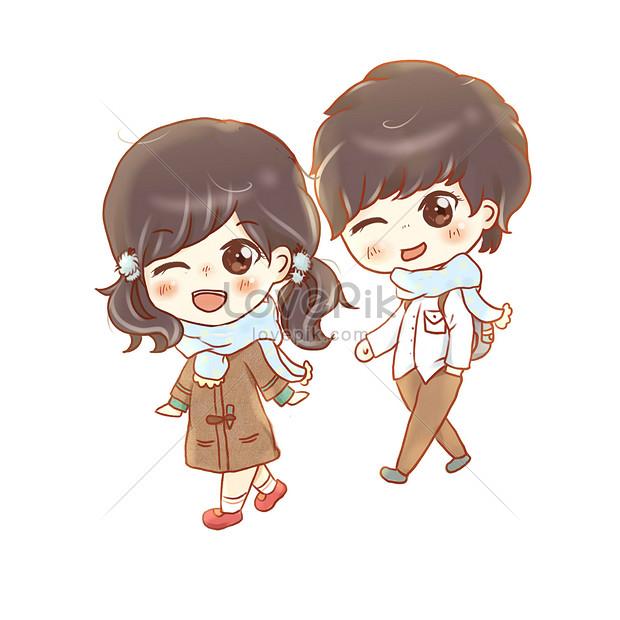 手描き中国のバレンタインデーバレンタインデーのかわいいカップルの
