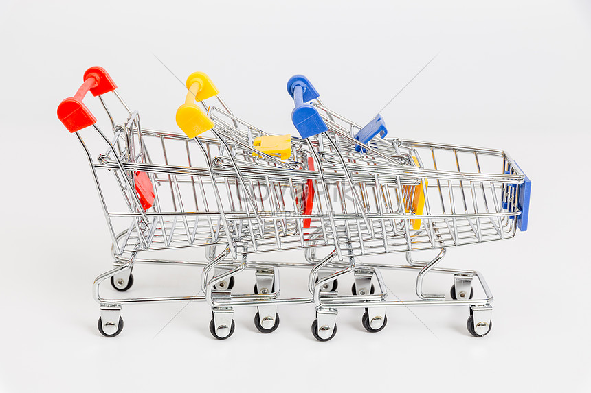 Three carts of different colours photo image_picture free