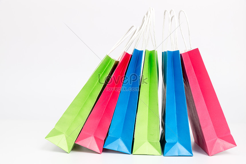hand held shopping bags of different colours