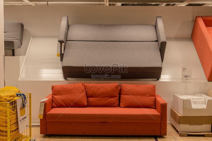 Fresh Literary Furniture Red Grey Sofa Photo Image Picture Free Download 500142440 Lovepik Com