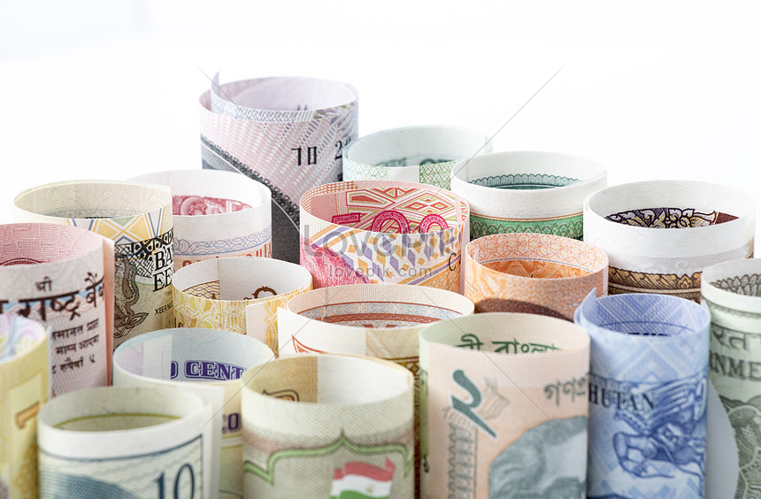 a roll of foreign currency