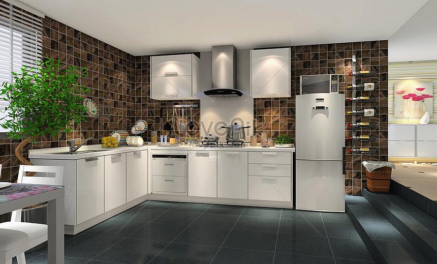 Modern Style Kitchen Effect Map Photo