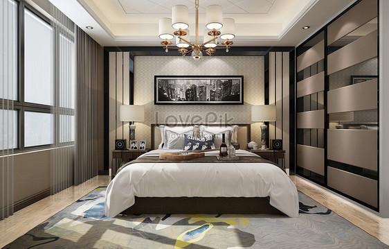 Camera Da Letto Bianco E Nero : Rendering di camera da letto moderna grigio bianco e nero immagine