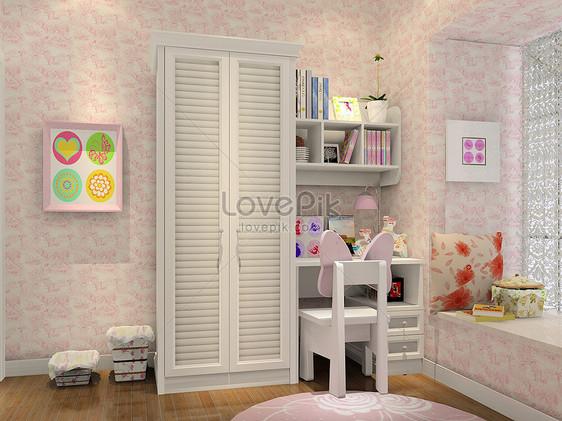Camera Da Letto Color Rosa : Rendering camera da letto per bambini di colore rosa immagine