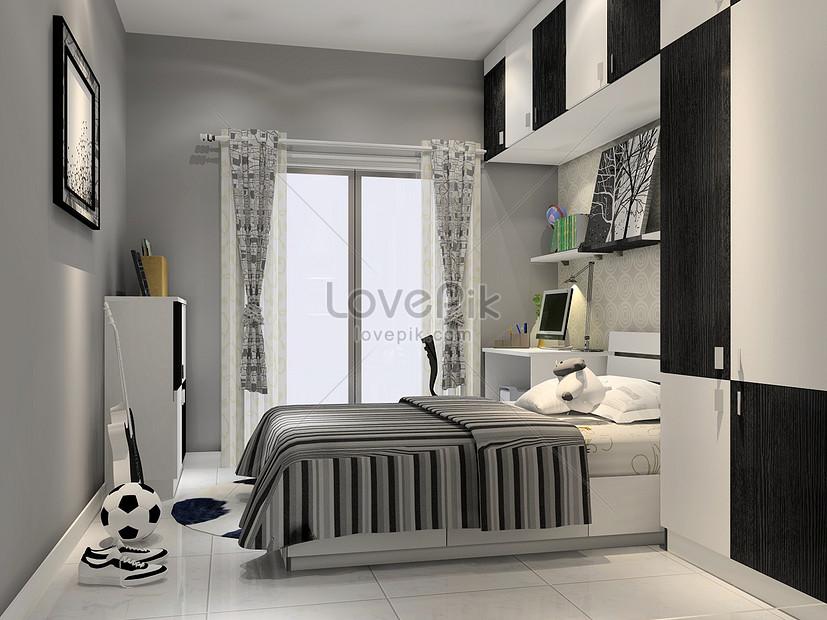 Penataan Bilik Tidur Gaya Kelabu Hitam Dan Putih Gambar Unduh Gratis Imej 500297849 Format Jpg My Lovepik Com
