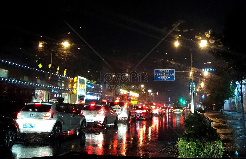 night scene in the rain