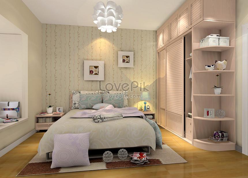 calda rappresentazione della camera da letto gialla Immagine ...