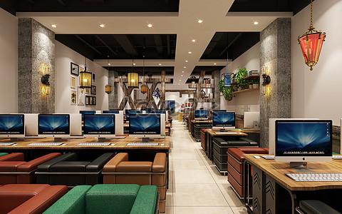 Internet Cafe Interior Design Renderings