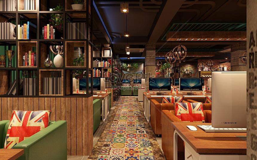 Internet Cafe Interior Design Renderings Photo Image Picture Free Download 500413965 Lovepik Com