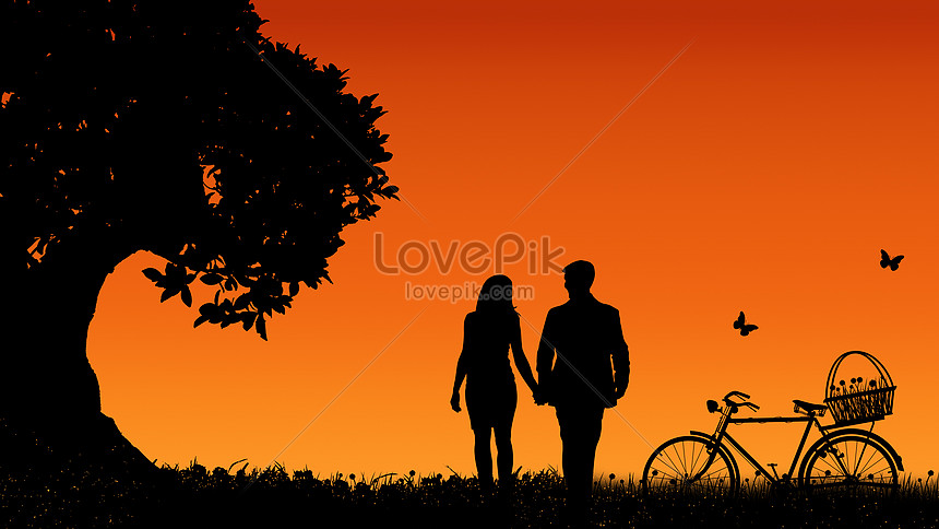 Silhouette Lovers And Bicycles Under The Big Tree Photo Image Picture Free Download 500429895 Lovepik Com
