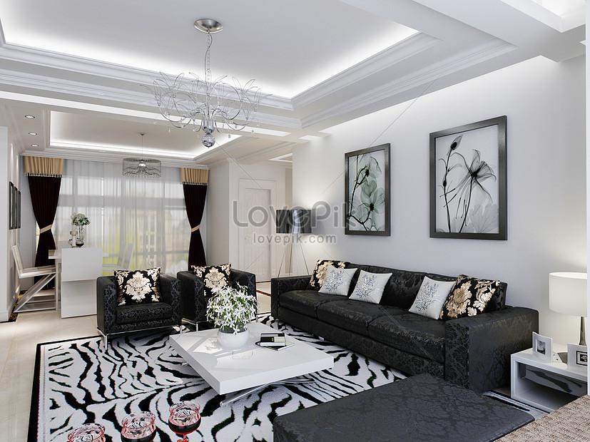 rendering di soggiorno moderno grigio bianco e nero Immagine ...