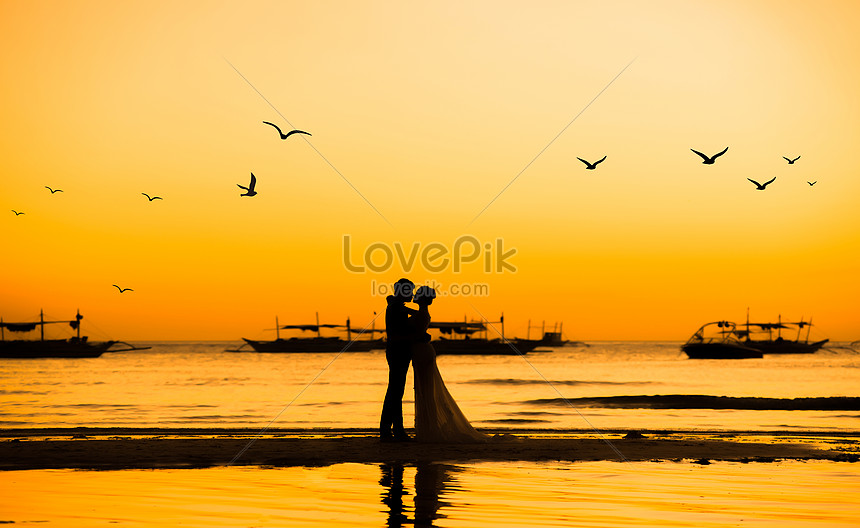 the silhouette of a lover in the setting sun