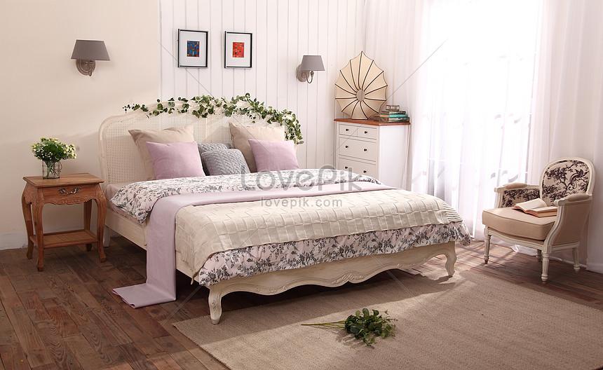 dormitorio pastoral europeo de diseño de interiores