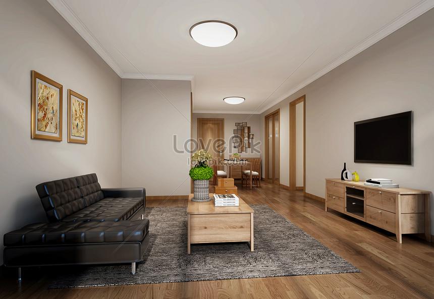 Japanese style living room interior design effect diagram ...