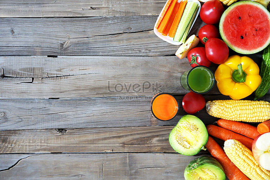 lots of fresh vegetables and fruits
