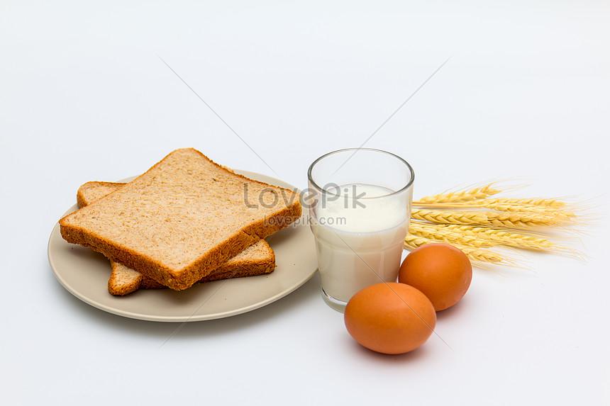 healthy nutrition breakfast bread egg and milk