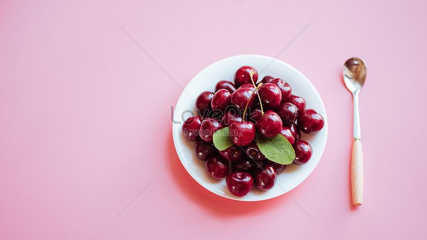 pink background cherry
