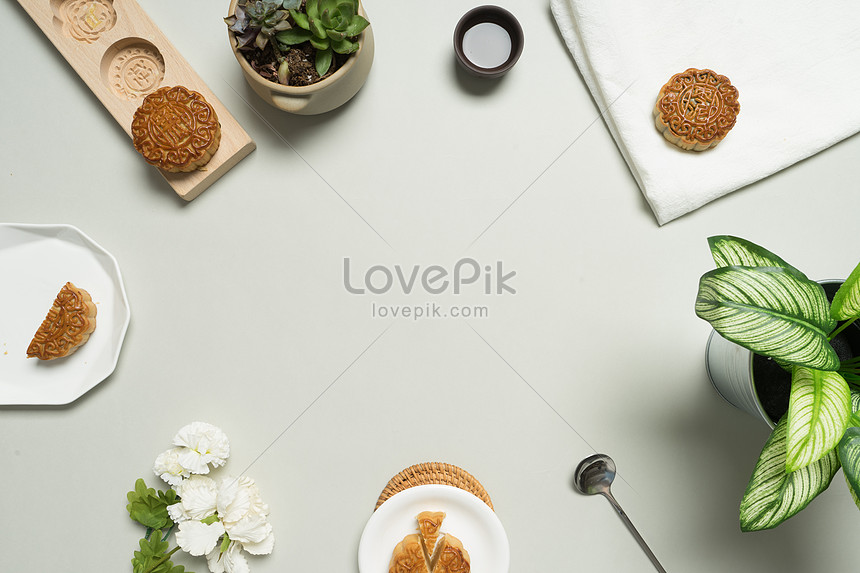 Moon cake and tea pat photo image_picture free download
